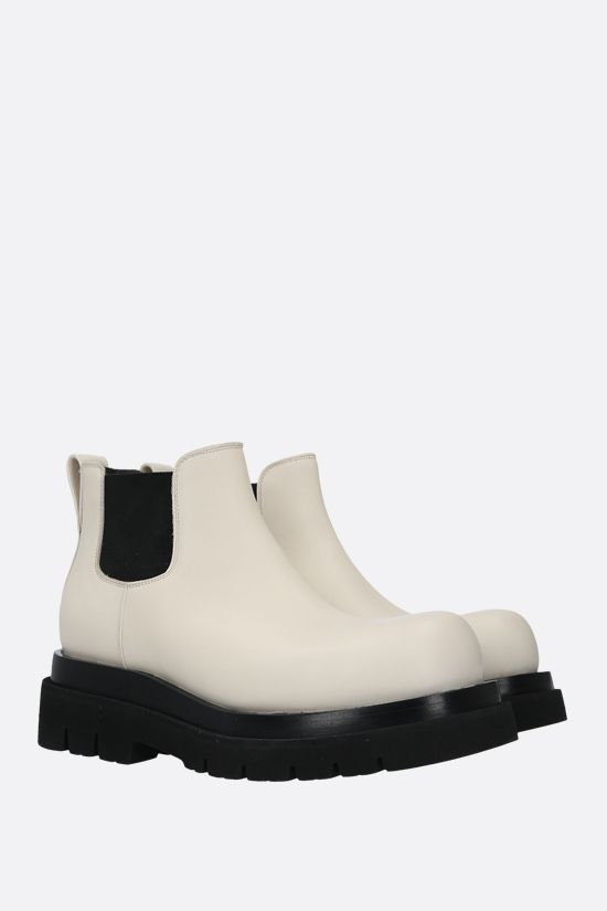 BOTTEGA VENETA: BV Lug smooth leather cheslea boots Color White_2