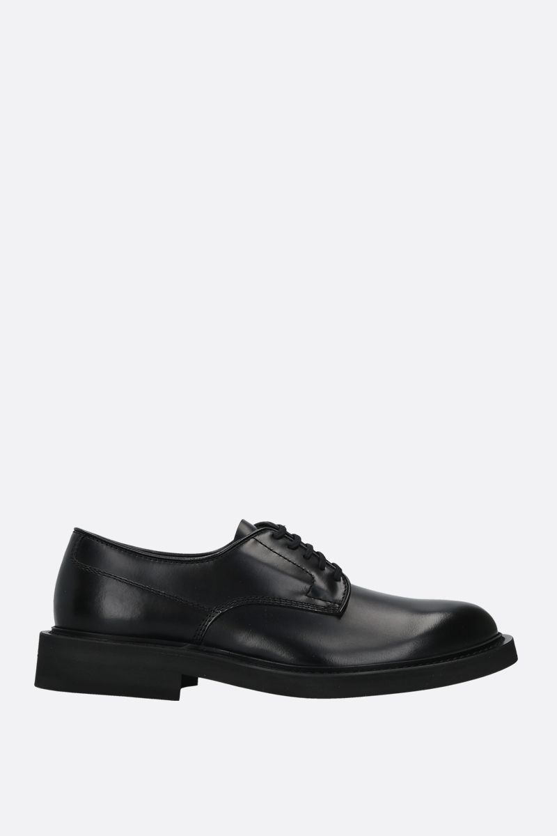 BOTTEGA VENETA: shiny leather derby shoes Color Black_1