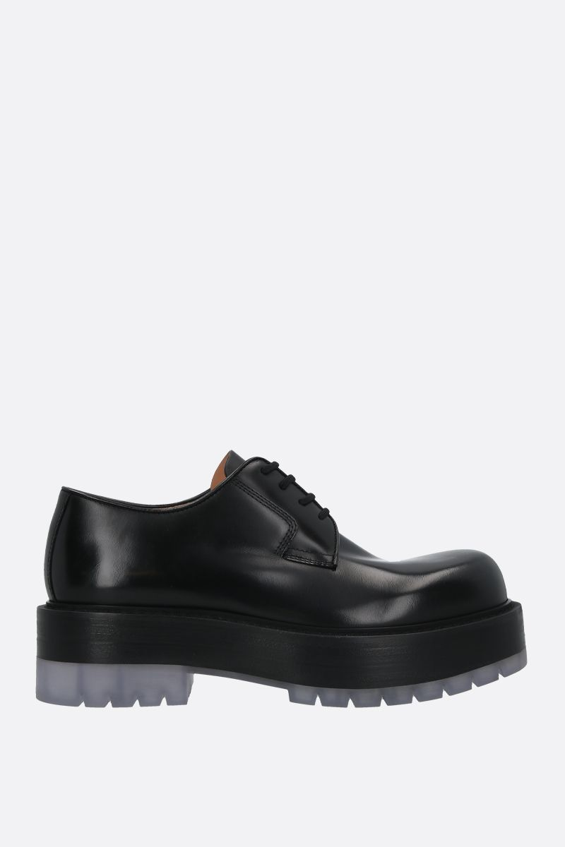 BOTTEGA VENETA: BV Stilt shiny leather derby shoes Color Black_1