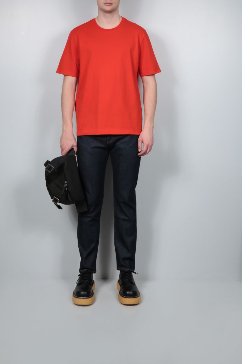 BOTTEGA VENETA: logo embroidered cotton t-shirt Color Red_2