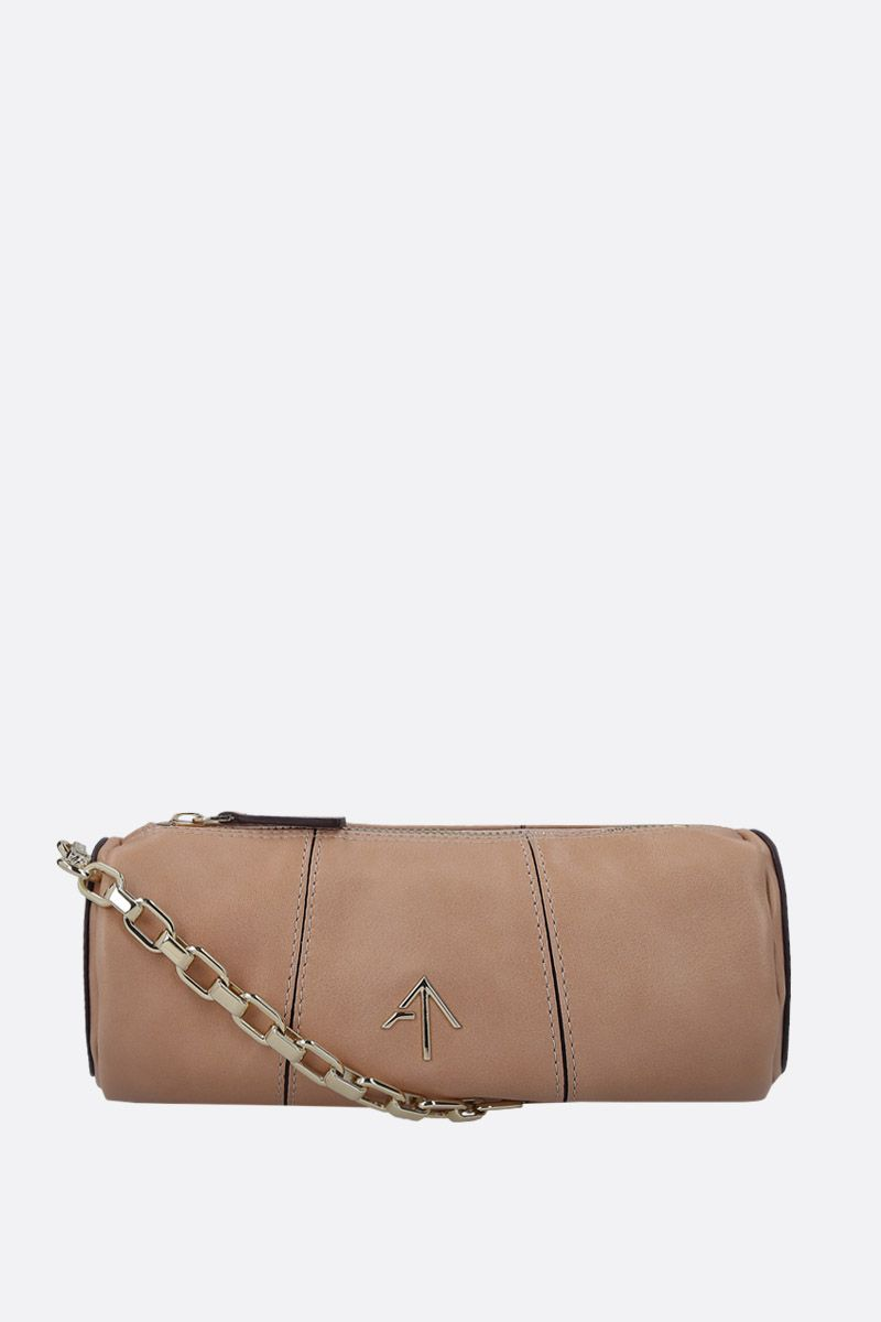 MANU ATELIER: Mini Cylinder crossbody bag in shiny leather Color Neutral_1