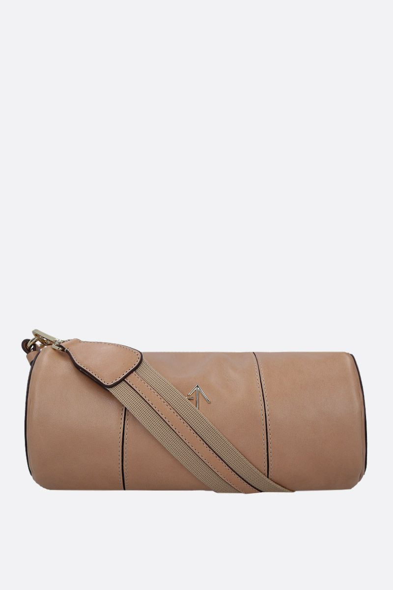 MANU ATELIER: Cylinder crossbody bag in shiny leather Color Neutral_1