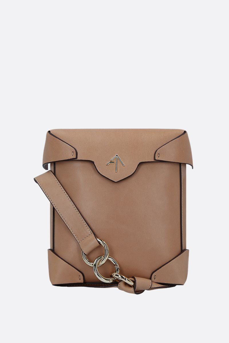 MANU ATELIER: Pristine Mini crossbody bag in smooth leather Color Neutral_1