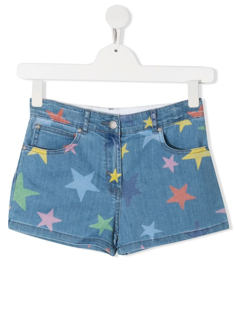 STELLA McCARTNEY KIDS: stars print stretch denim shorts Color Multicolor_1