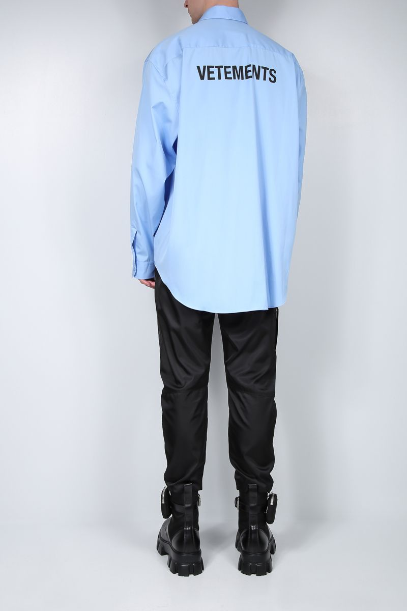 VETEMENTS: camicia oversize in cotone stampa Vetements Colore Blu_2