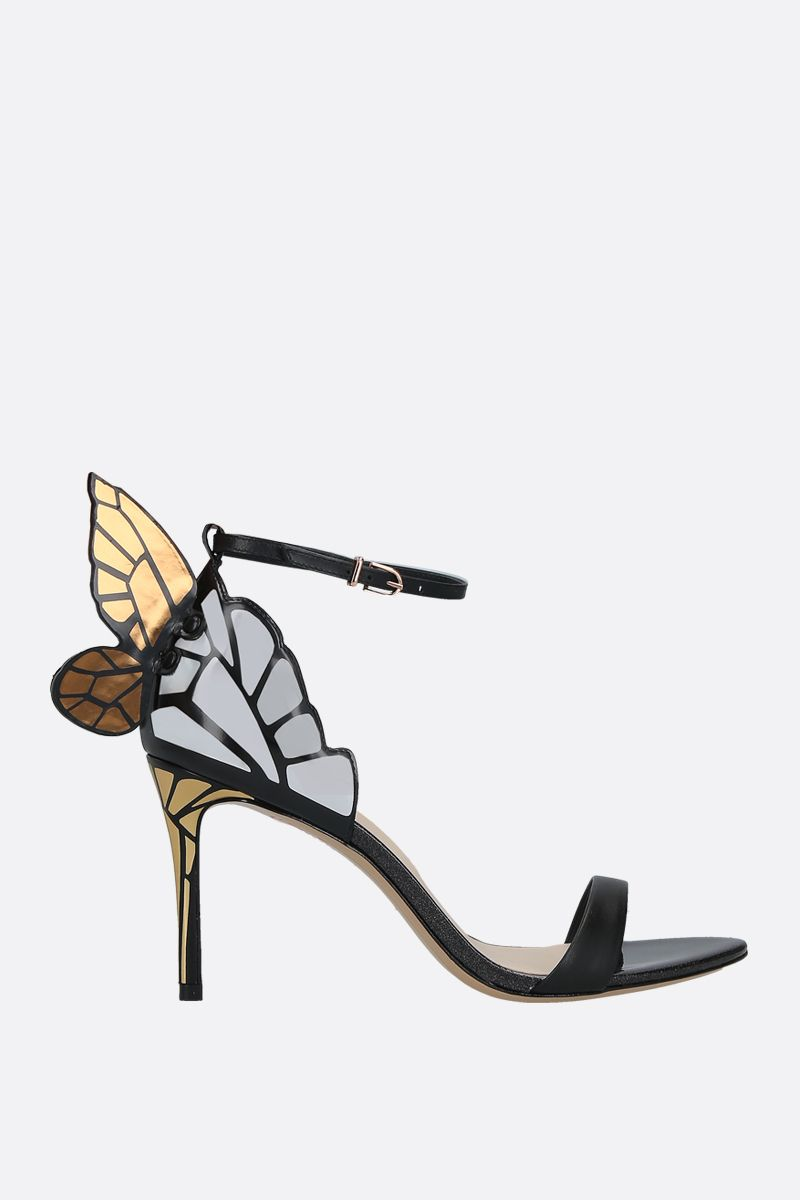 SOPHIA WEBSTER: Chiara smooth and mirrored leather sandals Color Black_1