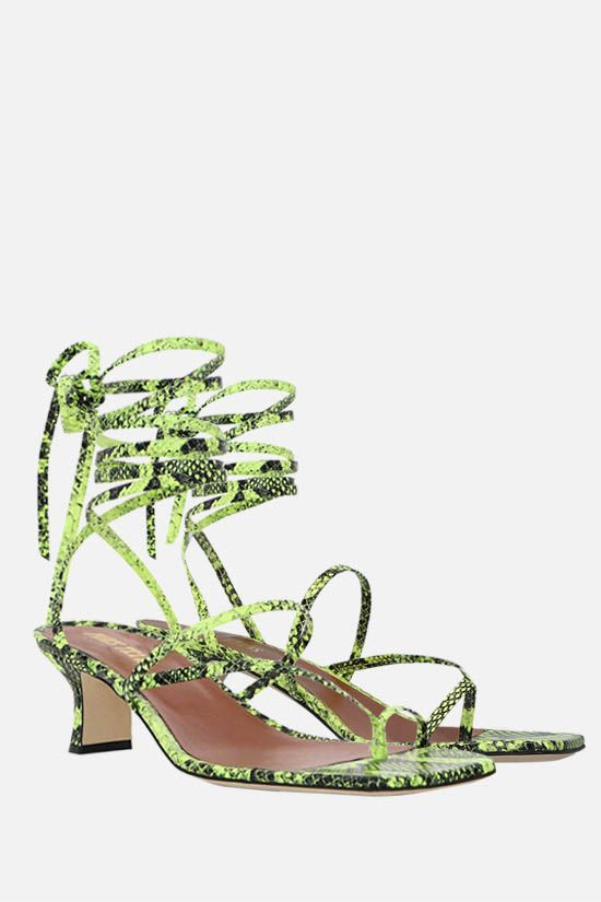 PARIS TEXAS: Betty python-embossed leather lace-up sandals Color Yellow_2
