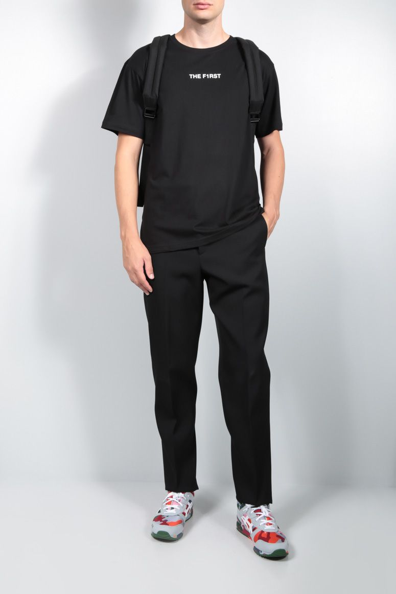 TIZIANA FAUSTI: THE F1RST print cotton t-shirt Color Black_2