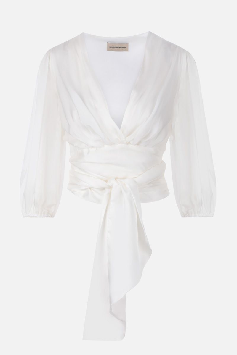 ALEXANDRE VAUTHIER: silk chiffon wrap blouse Color White_1