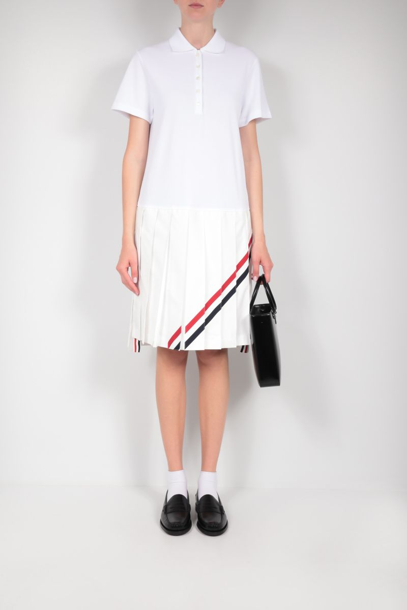 THOM BROWNE: pleated cotton minidress Color White_2