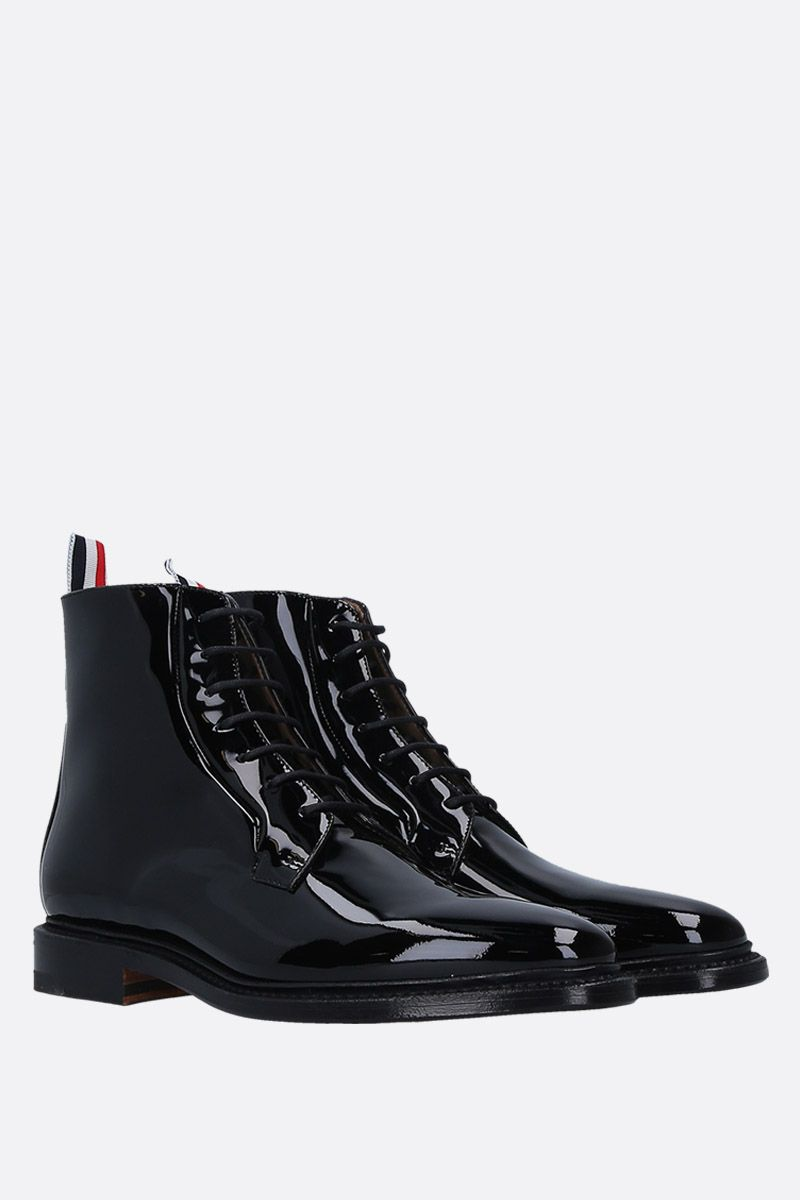 THOM BROWNE: blucher boots in patent leather Color Black_2