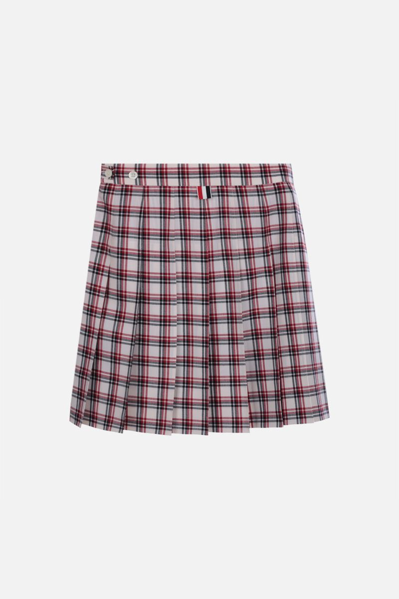 THOM BROWNE: check wool pleated miniskirt Color Red_2