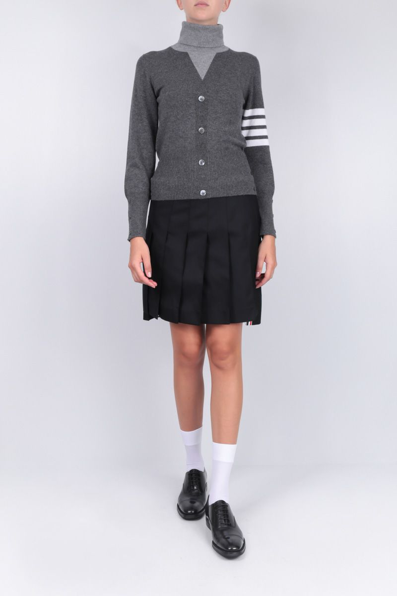 THOM BROWNE: wool twill pleated skirt Color Black_2