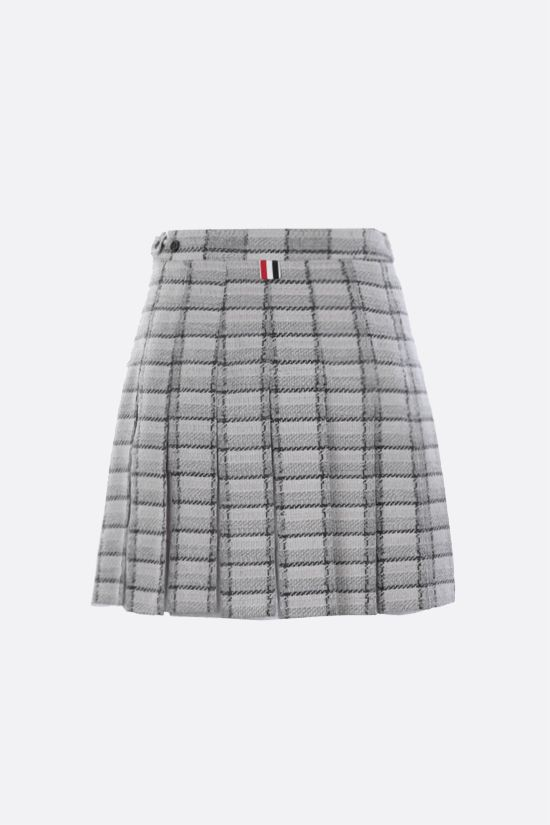 THOM BROWNE: organdy insert-detailed tweed pleated miniskirt Color Grey_2