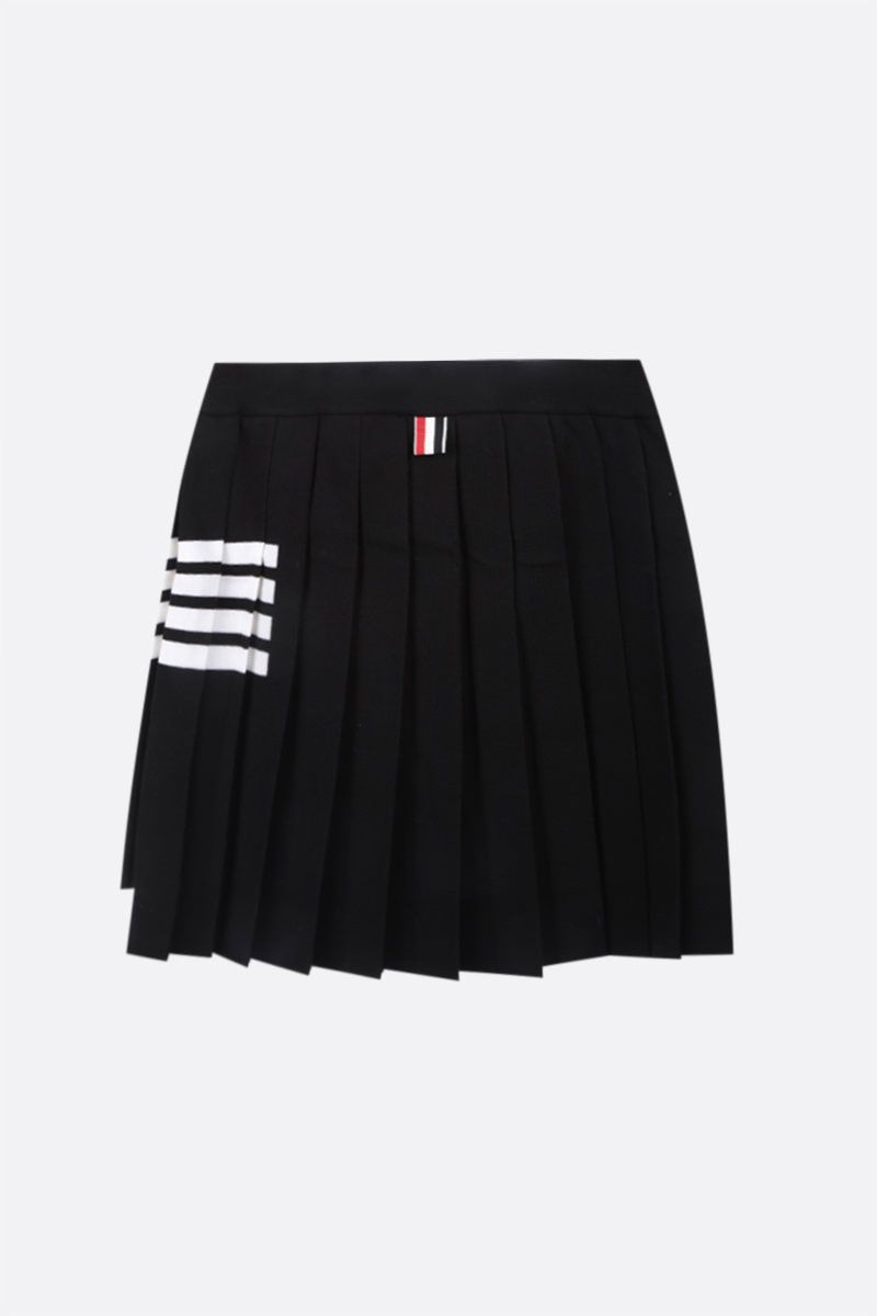 THOM BROWNE: 4-bar-detailed stretch wool pleated miniskirt Color Black_2