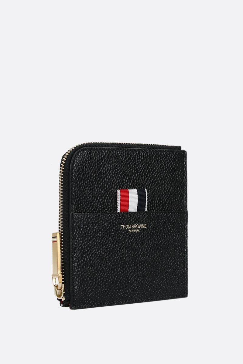 THOM BROWNE: Pebble Grain half-zip wallet Color Black_2