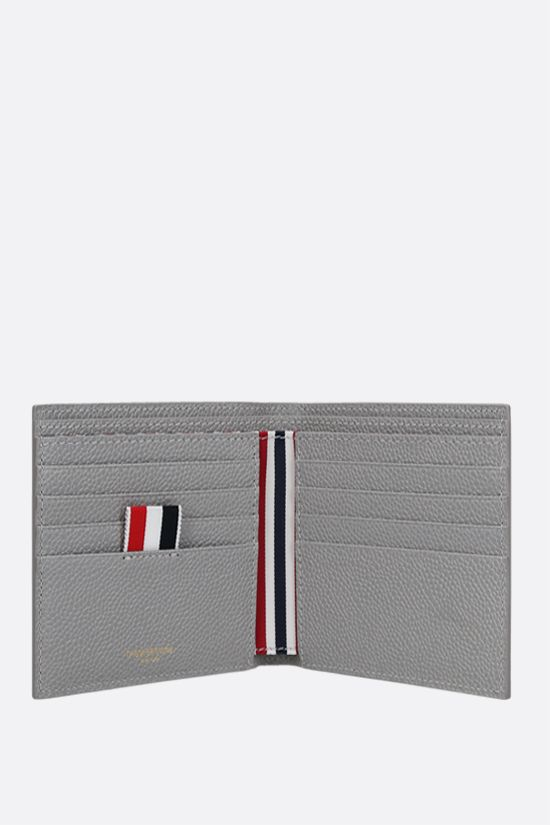 THOM BROWNE: tricolour-detailed pebble grain leather wallet Color Grey_2