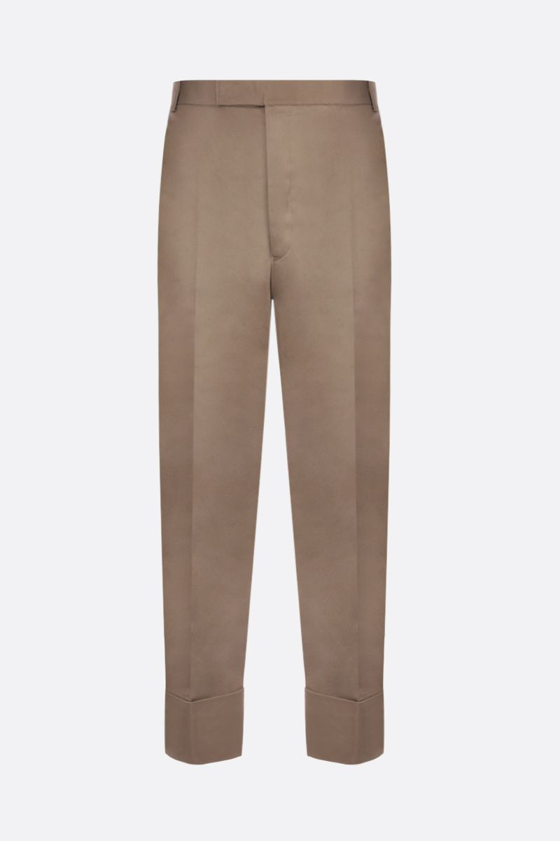 THOM BROWNE: straight-fit cotton pants Color Neutral_1