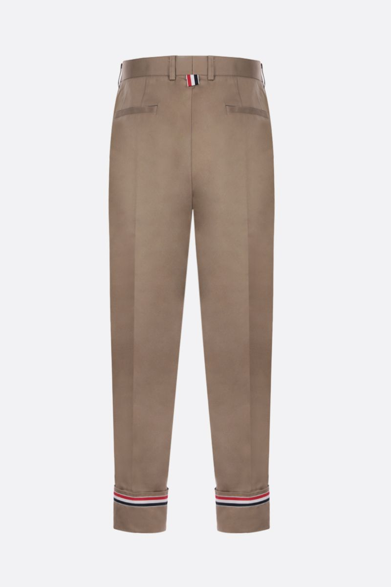 THOM BROWNE: straight-fit cotton pants Color Neutral_2
