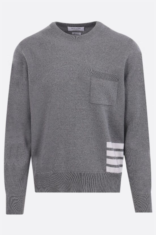 THOM BROWNE: 4-bar-detailed merino wool pullover Color Grey_1