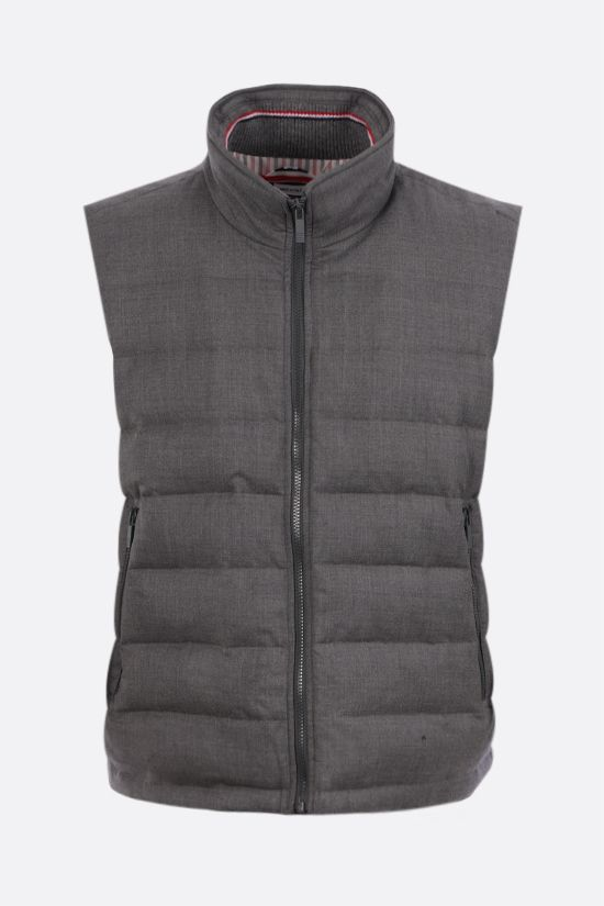 THOM BROWNE: wool sleeveless down jacket Color Grey_1