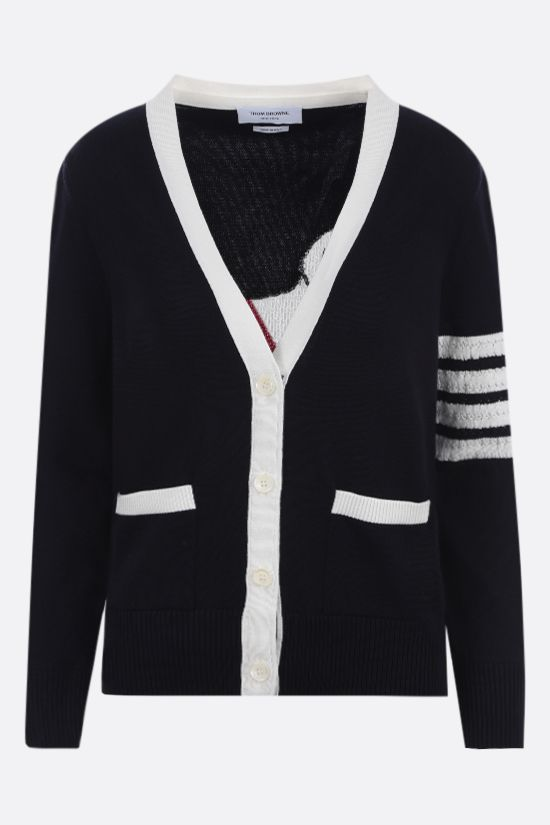 THOM BROWNE: Hector Icon 4-bar-detailed cotton cardigan Color Blue_1