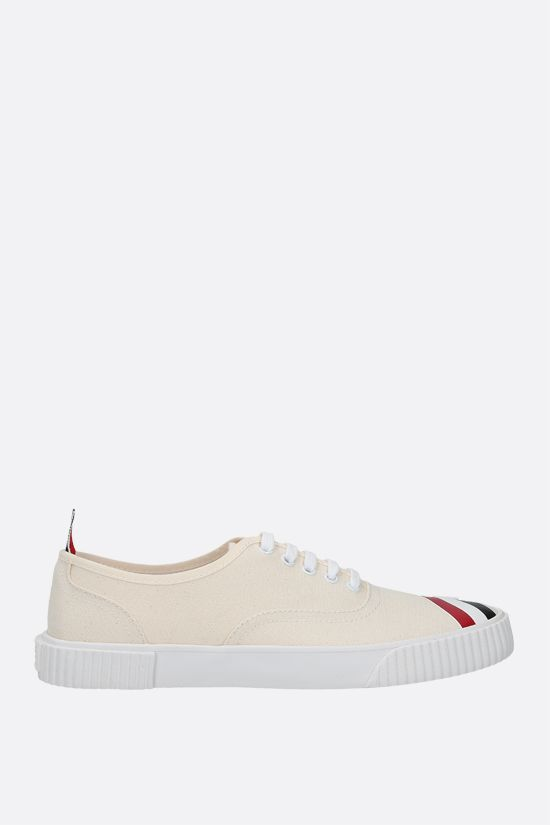 THOM BROWNE: Heritage canvas sneakers Color White_1