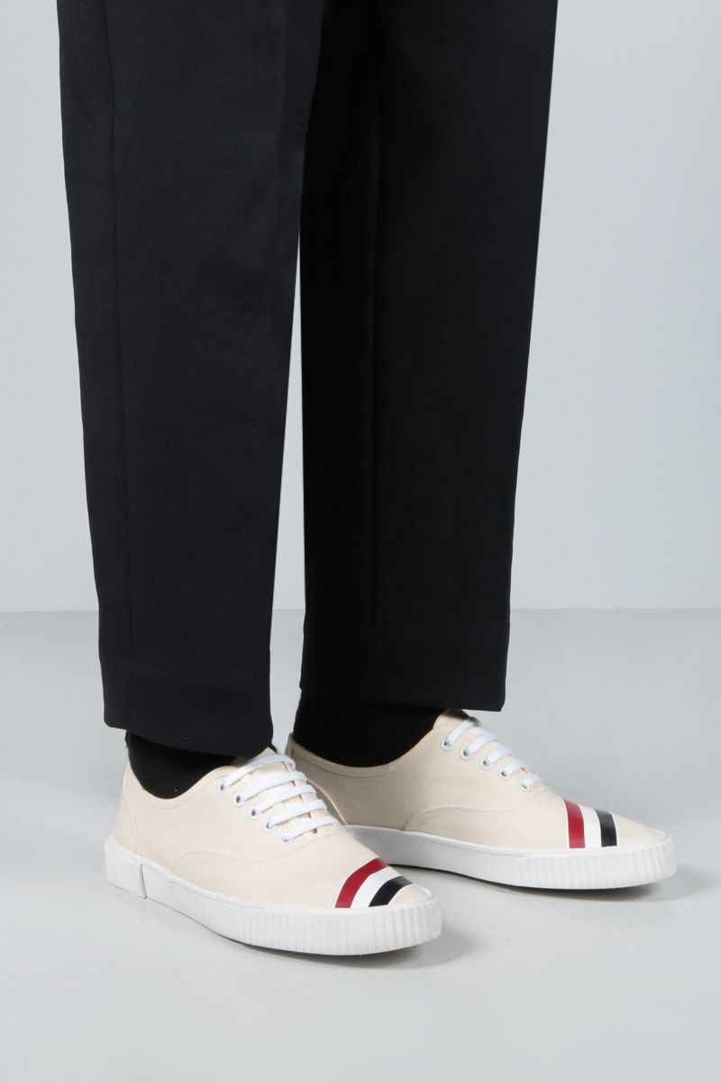THOM BROWNE: sneaker Heritage in canvas Colore Bianco_2