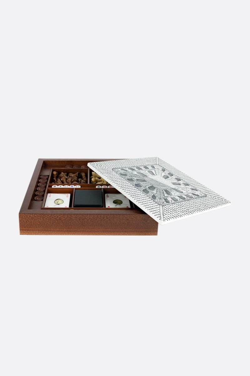 FORNASETTI: Cortile briarwood chessboard Color White_2