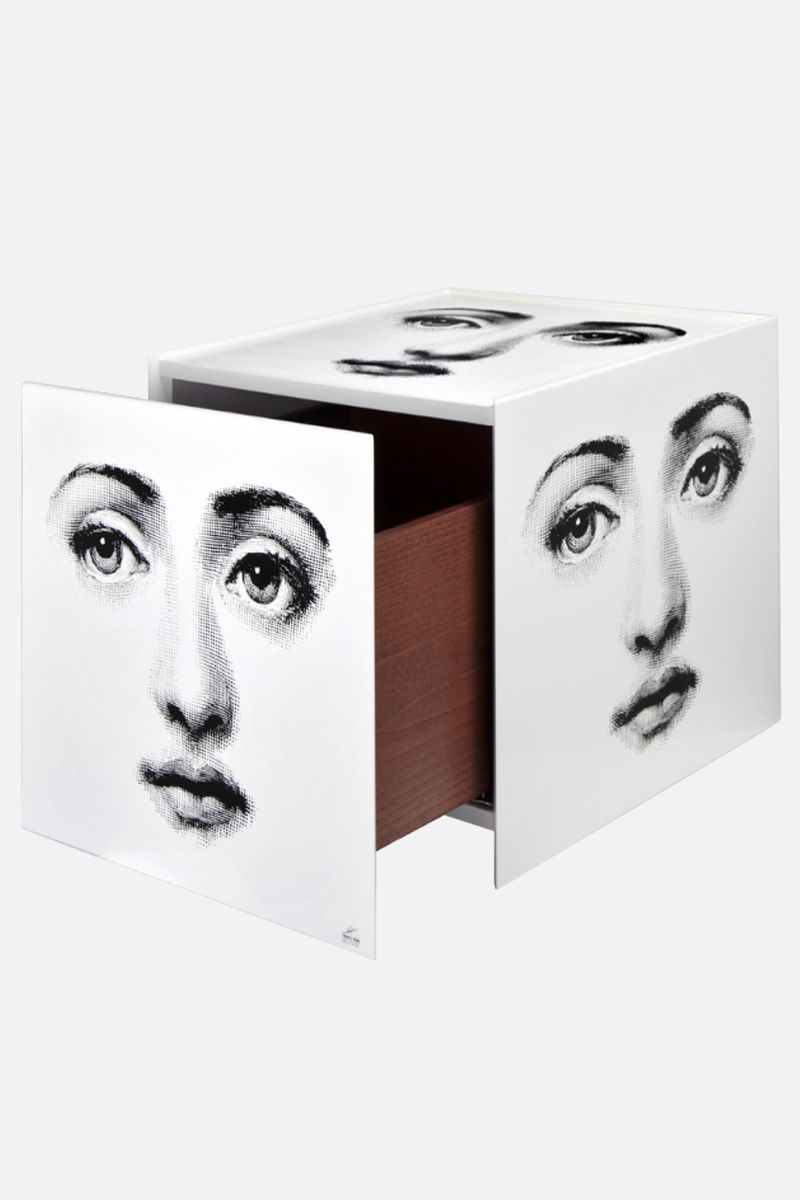 FORNASETTI: Viso laquered wood cube with drawer Color White_2