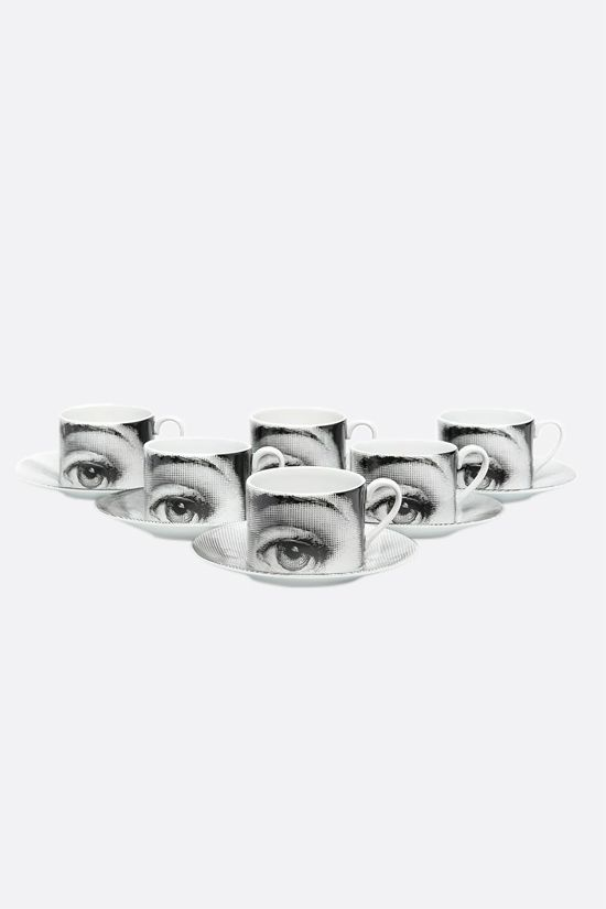 FORNASETTI: set of six Tema e Variazioni N° 1 tea cups Color Grey_2