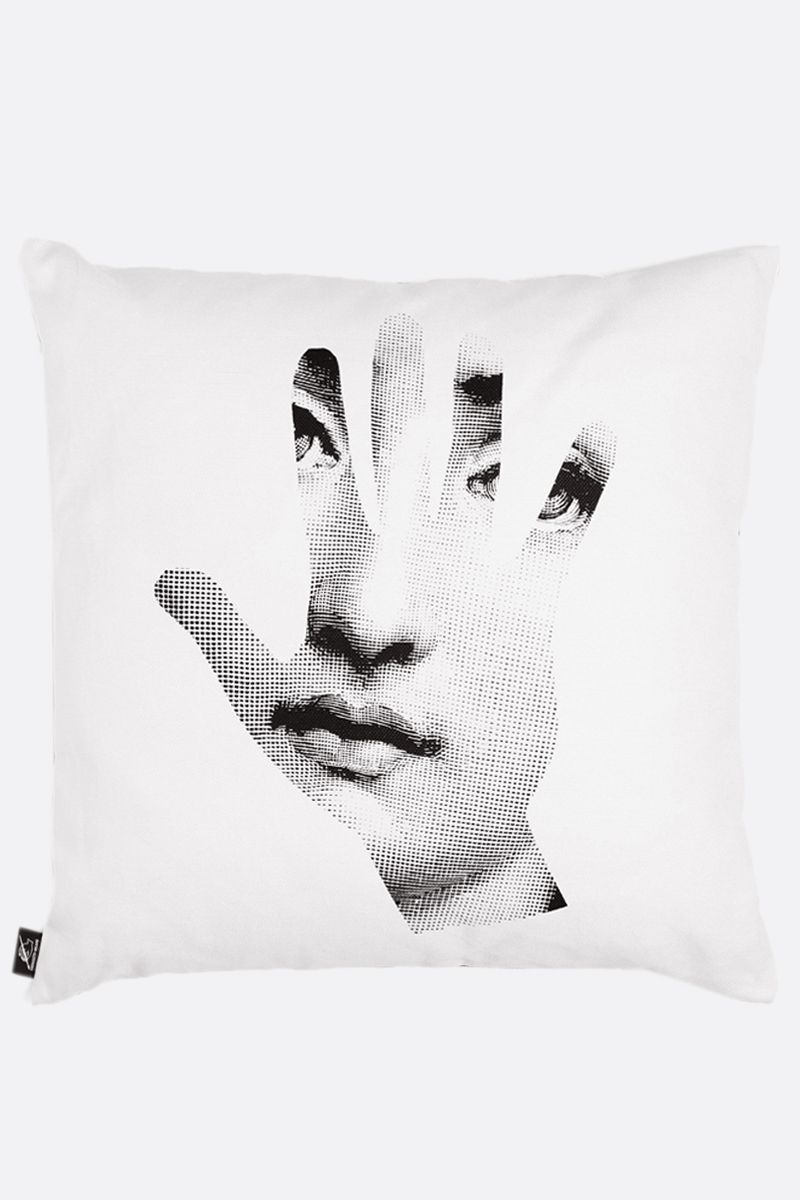 FORNASETTI: Mano canvas cushion Color Grey