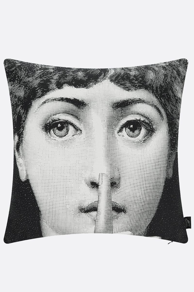 FORNASETTI: Silenzio canvas cushion Color Grey