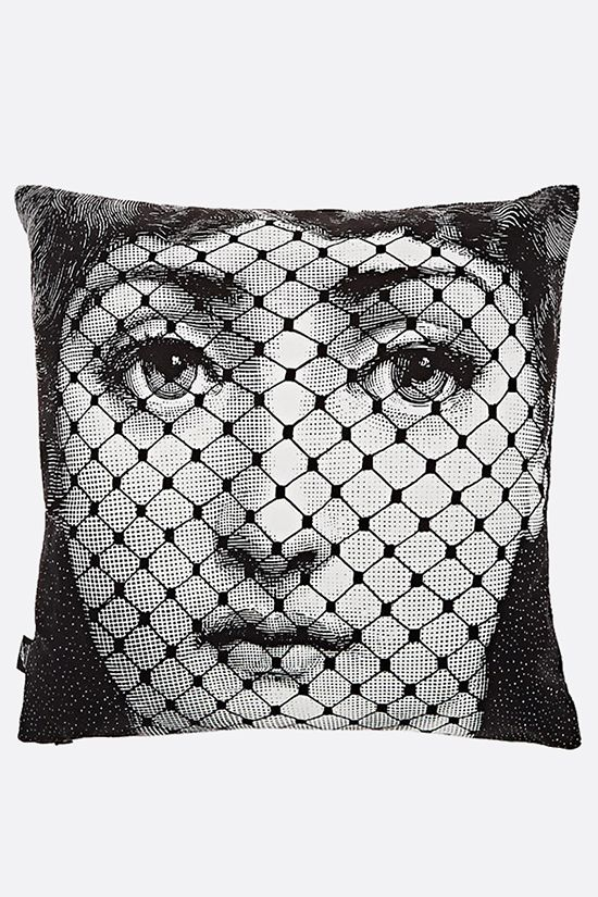 FORNASETTI: Burlesque canvas cushion Color Grey