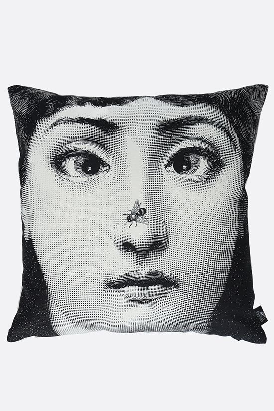 FORNASETTI: Ape linen cotton blend cushion Color White_1
