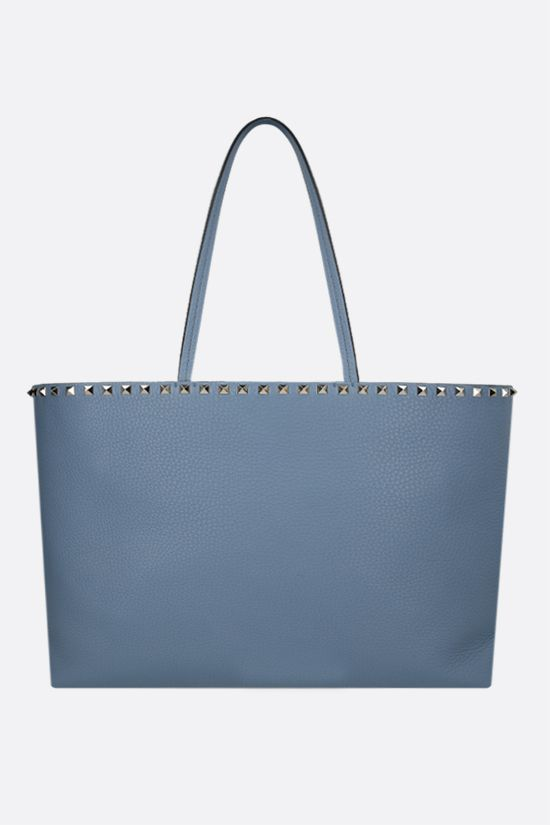 VALENTINO GARAVANI: Rockstud grainy leather tote bag Color Blue_1