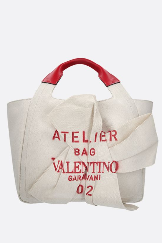 VALENTINO GARAVANI: Atelier Bag 02 Bow Edition small canvas tote bag Color Neutral_1
