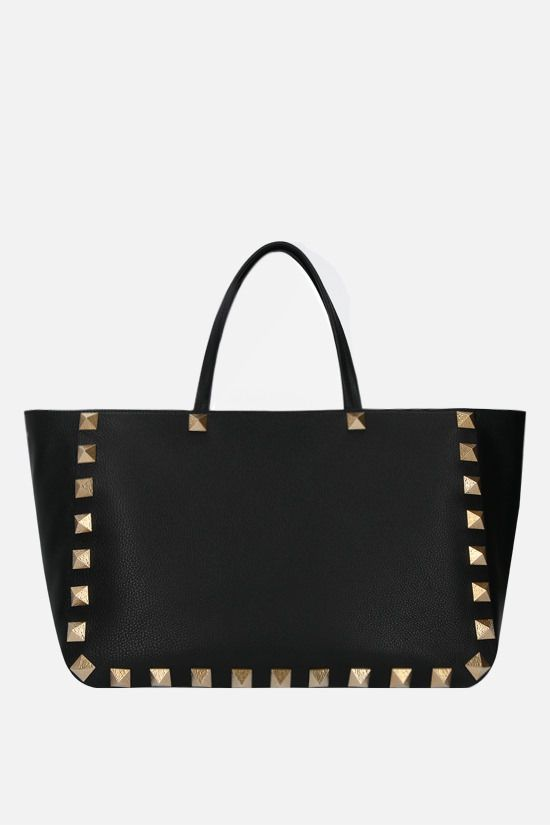 VALENTINO GARAVANI: Roman Stud grainy leather tote bag Color Black_1
