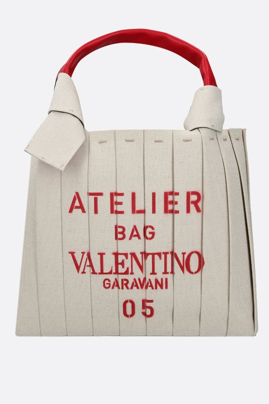 VALENTINO GARAVANI: Atelier Bag 05 Plissè Edition small canvas tote bag Color Neutral_1