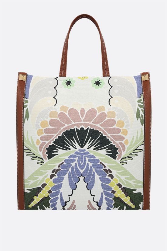 VALENTINO GARAVANI: borsa tote in canvas stampa World Arazzo Colore Multicolore_1