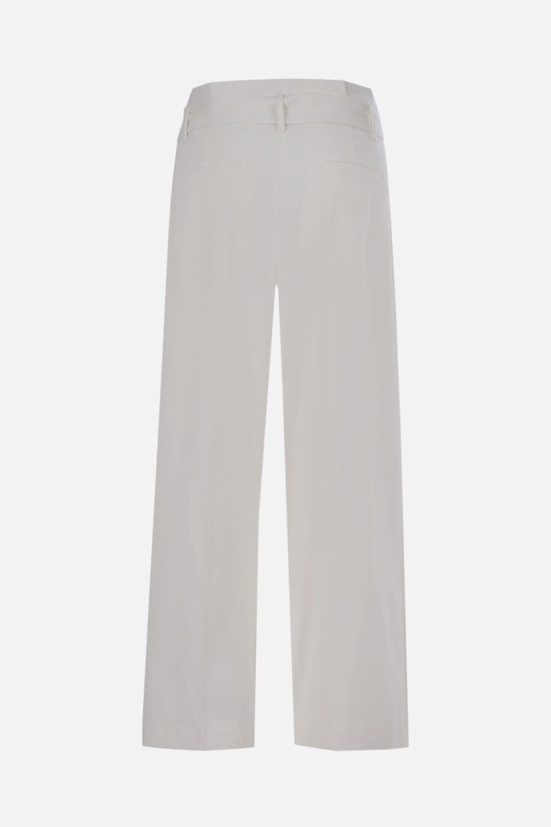 RED VALENTINO: belt-detailed wool blend cropped pants Color White_2