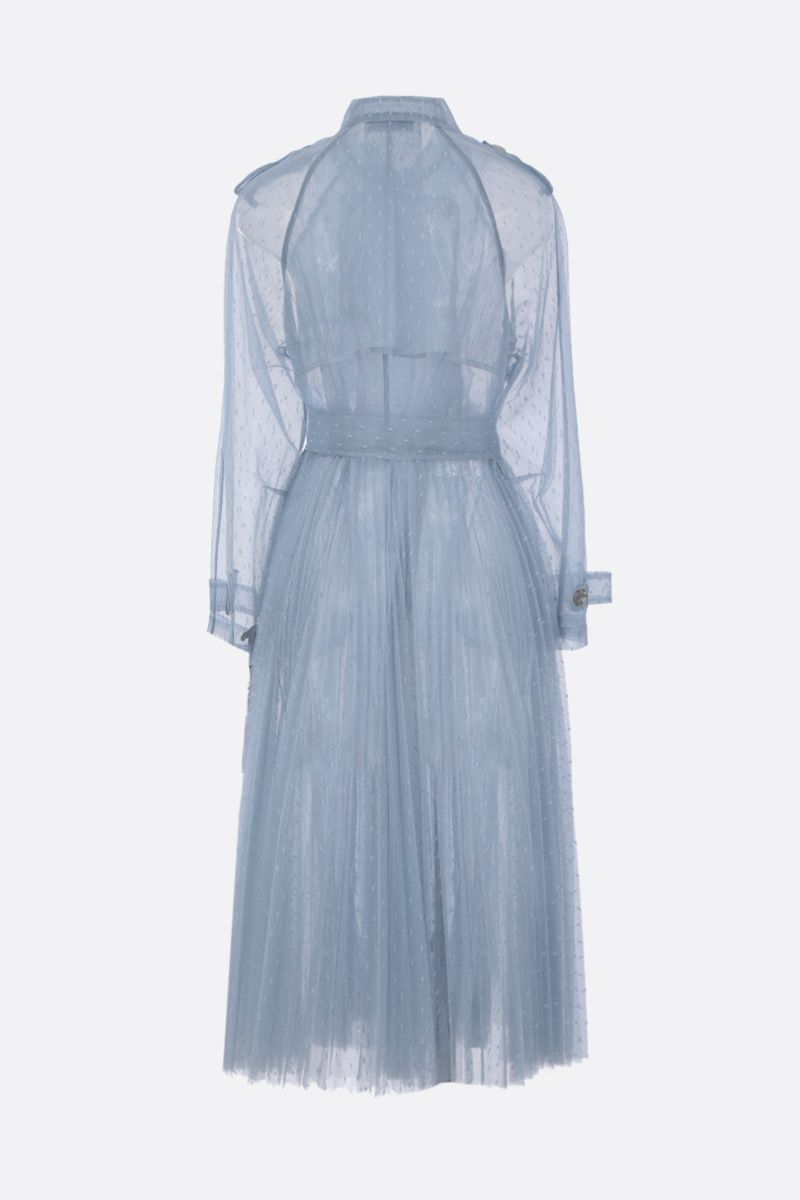 RED VALENTINO: point d'esprit tulle pleated trench coat Color Blue_2