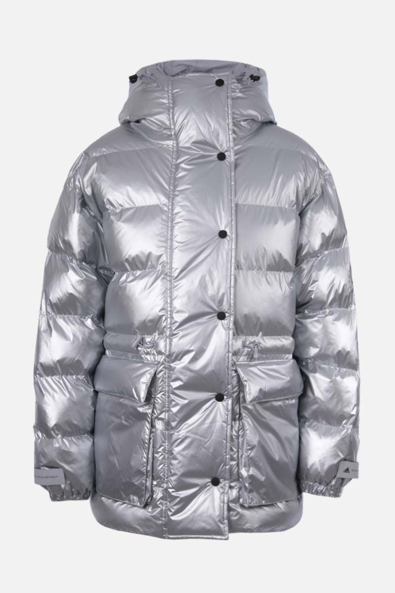 ADIDAS BY STELLA McCARTNEY: logo print nylon padded jacket Color Silver_1