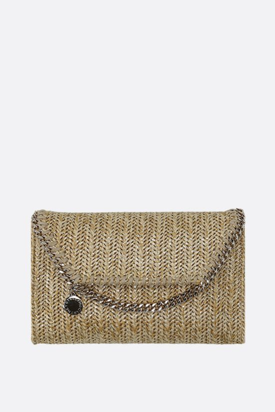 STELLA McCARTNEY: Falabella micro shoulder bag in woven fabric Color Gold_1