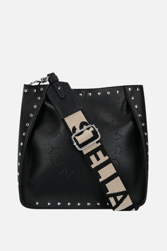 STELLA McCARTNEY: Stella Logo shoulder bag in studded Alter Nappa Color Black_1