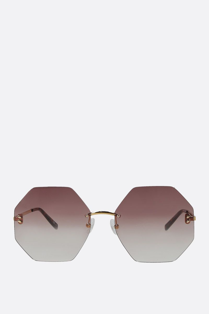 STELLA McCARTNEY: hexagonal-shape metal sunglasses Color Gold_1