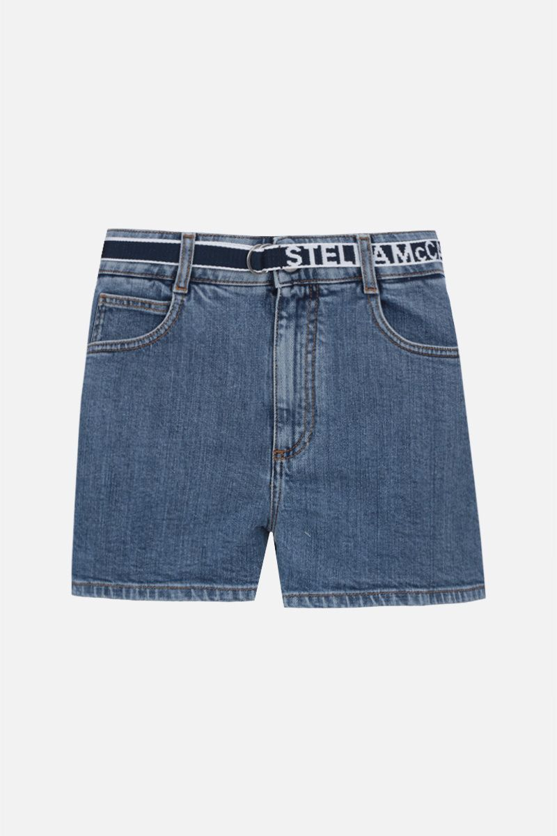 STELLA McCARTNEY: pantalone corto in denim stretch con cintura logata_1