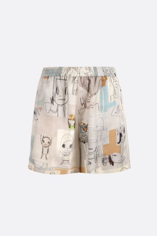 STELLA McCARTNEY: Yoshitomo Nara print silk shorts Color Multicolor_1