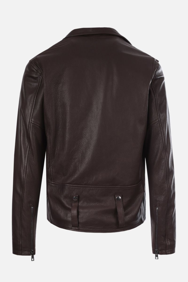 GIORGIO BRATO: deer embossed leather biker jacket_2