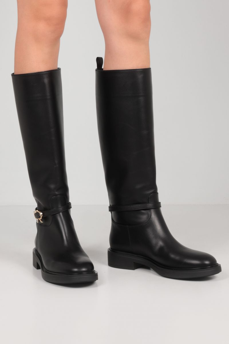 GIANVITO ROSSI: Ribbon smooth leather boots Color Black_2